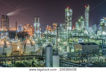 Petrochemical plant or oil and gas refinery industry with night time