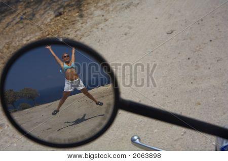 Girl In A Motorbike Mirror