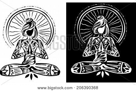 Girl in lotus yoga on black and white