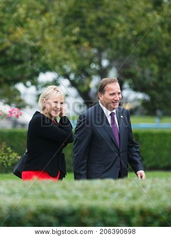Margot Elisabeth Wahlstrom And Stefan Lofven In Nyc