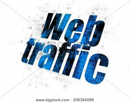 Web development concept: Pixelated blue text Web Traffic on Digital background