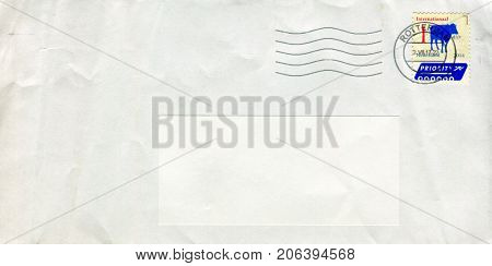 GOMEL, BELARUS - AUGUST 12, 2017: Old envelope which was dispatched from Netherlands to Gomel, Belarus, August 12, 2017.