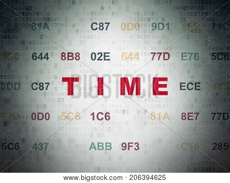 Time concept: Painted red text Time on Digital Data Paper background with Hexadecimal Code