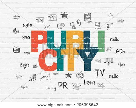Marketing concept: Painted multicolor text Publicity on White Brick wall background with  Hand Drawn Marketing Icons