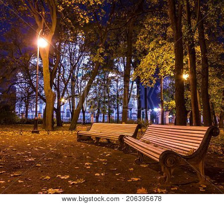 Night autumn view of illuminated St. Nicholas Naval Cathedral and benches in Nikolskiy garden St. Petersburg Russia