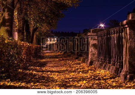 Night autumn low angle view of embankment of Kryukov Canal with many dry leaves lying on the ground Saint Petersburg Russia