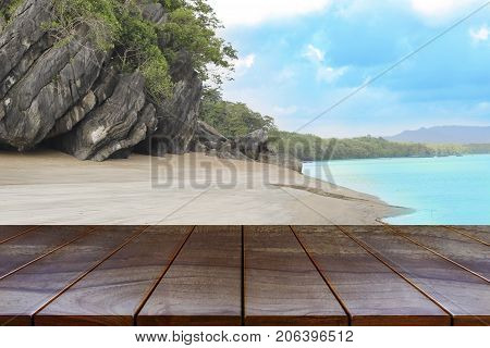 Empty wooden table space platform and Islands on the sea and sky background for product display montage Wood table for product placement.
