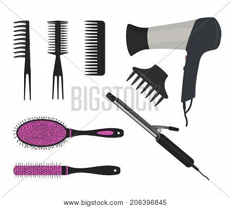 Hair dryer, a curling iron and different types of hair brushes on a white background. Vector illustration.