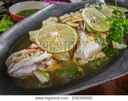 Steamed Fish in Lime Sauce Warm tone