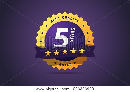 Five stars rating round medal. For award winners, hotel, site or product ratings. Vector isolated label in modern gradient style.