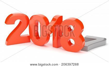 2018 new year figures isolated on white background. 3d rendering