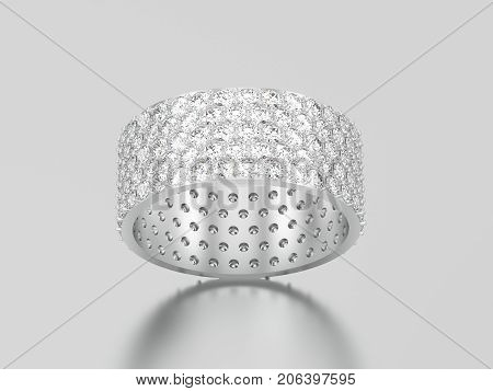 3D illustration white gold or silver engagement pave setting with five tiers of round stones ring with diamonds with reflection and shadow on a grey background