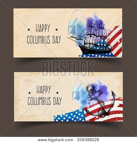 Columbus Day. A ready template for banners or flyers in grunge style. The perfect solution for your congratulations. Vector illustration.