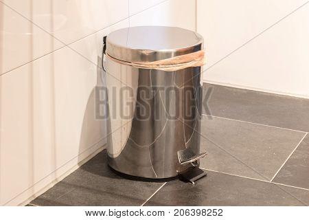 Trash Bin In Bathroom