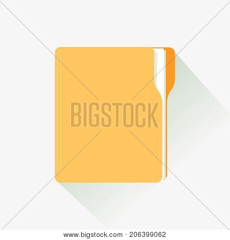Manila Folder with Document. Flat designed vector illustration with Long Shadow. Business folder icon