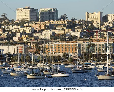 SAN DIEGO, CALIFORNIA, JUNE 13: San Diego Bay on June 13, 2017, in San Diego, California. A View of Bankers Hill also Known as Park West from San Diego Bay in San Diego in California.