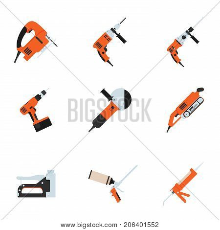 Set of building electrotools for repair. Vector illustration. Fretsaw, drill, puncher, screwdriver, cutting machine, grinder and stapler