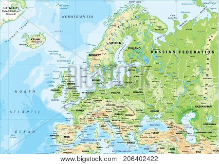 Physical map of Europe with heights, roads and city names