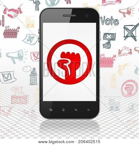Politics concept: Smartphone with  red Uprising icon on display,  Hand Drawn Politics Icons background, 3D rendering