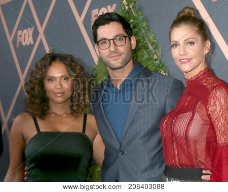 LOS ANGELES - SEP 25:  Lesley-Ann Brandt, Tom Ellis, Tricia Helfer at the FOX Fall Premiere Party 2017 at the Catch on September 25, 2017 in West Hollywood, CA