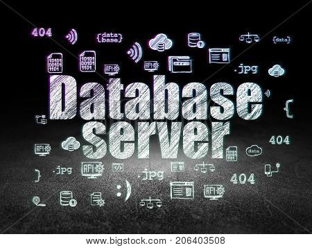 Database concept: Glowing text Database Server,  Hand Drawn Programming Icons in grunge dark room with Dirty Floor, black background