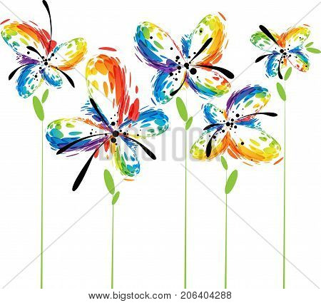 Abstract fantasy colorful flowers on white background