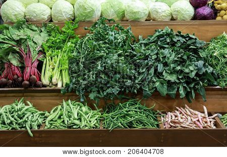 Variety Of Fresh Vegetables Cabbage, Green Leaves Horta, Spinach, Celery, Green Beans, Beets On The