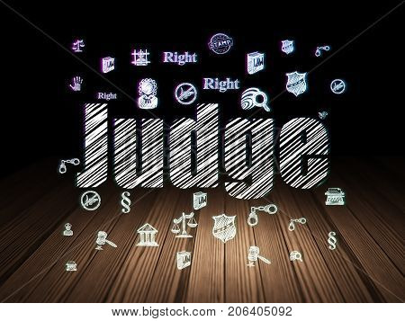 Law concept: Glowing text Judge,  Hand Drawn Law Icons in grunge dark room with Wooden Floor, black background