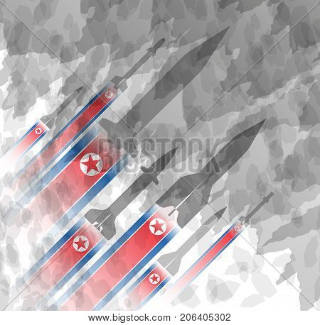 Silhouettes of rocket against the background of the flag of North Korea. Military background. Conflict in Asia