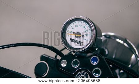 Vintage Speedometer Sports Bike Close-up. .speedometer In Detail On A Motorcycle