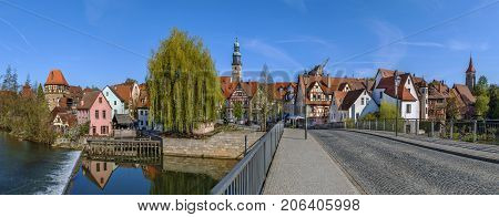 Panoramic view of Lauf an der Pegnitz from Pegnitz river Germany