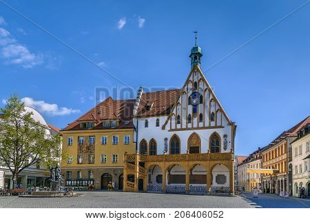 Gothic town hall on Market Square in Amberg Germany