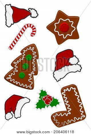 Cartoon or comic style Christmas icon set on white vector illustration