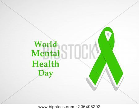 illustration of ribbon with World Mental Health Day text on the occasion of World Mental Health Day