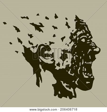 Profile of the screaming ghoul head with a torn face. Vector illustration. The horror genre.