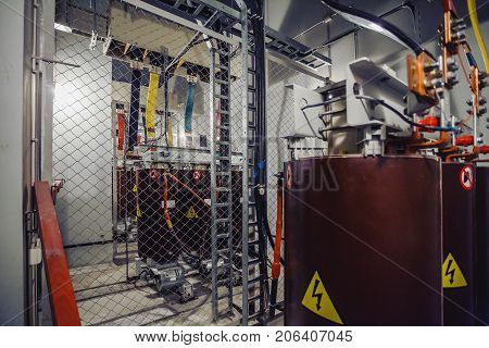 High voltage power transformer substation. Electric power substation. Electricity substation, Power line and power station, with equipment, cable.