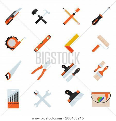 Construction repair tools flat icon set. Tools like hammer, axe, ruler, putty knife. Isolated tools flat set.