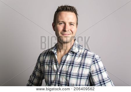 A great handsome dude in grey, portrait