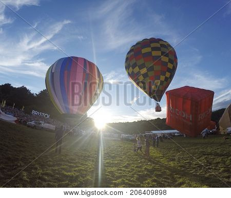 Bristol, UK: August 13, 2016: Flying the balloons at the Bristol International Balloon Fiesta. The annual event has become Europe's largest hot air balloon festival.