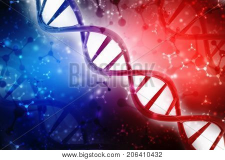 Concept of biochemistry with dna molecule isolated in digital background, 3d rendering poster