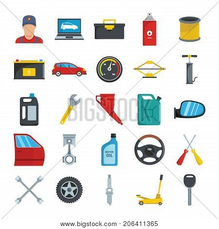 Auto service with tools and car flat icons set vector illustration for design and web isolated on white background. Auto service vector object for label and advertising