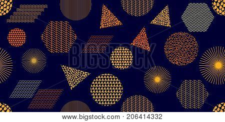 Circles, triangles, parallelograms, hexagons with different ornaments. Composition for textile design, web design, cards.