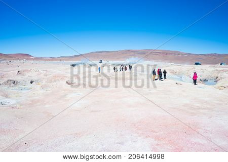 Tourism At Steaming Hot Water Ponds On The Andes, Bolivia