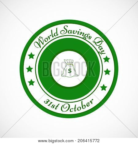 illustration of stamp in bag background with World Savings Day 31st October text on the occasion of World Saving Day