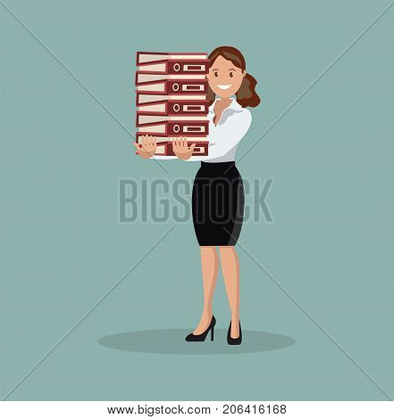 Employee carries a large stack of papers and sheets of paper, the business concept of paper work and workload