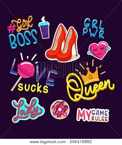 Fashion girls stickers and badges set. Modern feminism slogans. Colorful lettering and elements designs for cards, patches, posters, labels, mugs or party. Vector illustration