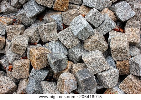 Gray gravel close up photo for background. Sharp stones in pile for construction. Road or building construction supply. Gray rocks bunch for wallpaper or banner template. Natural texture picture.