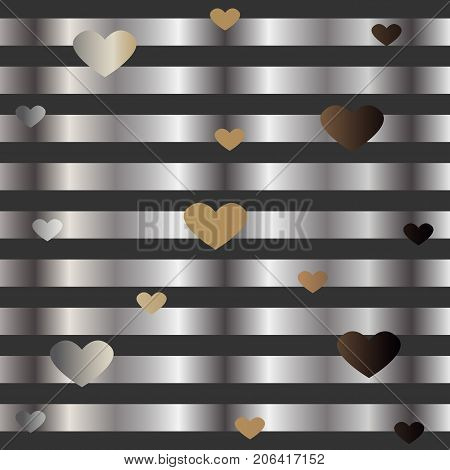 Gold and Silver Frame with Hearts. For Cards postcards backgrounds covers etc. Suitable for Beauty and Luxury Products. Vector Illustration. Stylized Silver Lines on dark background.