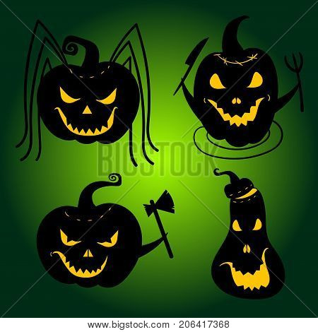 Set of Halloween Pumpkins with scary faces. Pumpkin spider, hungry pumpkin, angry and crazy