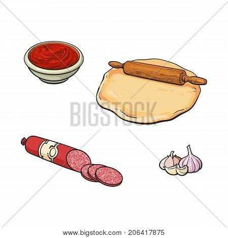 Pizza ingredients - dough, rolling pin, tomato sauce, garlic, salami sausage, sketch vector illustration isolated on white background. Hand drawn rolling pin, tomato sauce, garlic and salami sausage